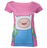 ADVENTURE TIME Finn with Dots Women's T-Shirt, Large, Pink