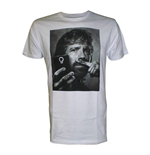 CHUCK NORRIS Selfie with Moustache Finger Men's T-Shirt, Large, White