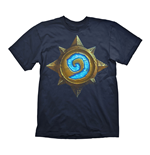 HEARTHSTONE Heroes of Warcraft Men's Rose Logo T-Shirt, Large, Dark Blue