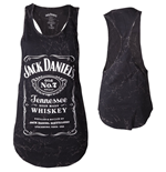 JACK DANIEL'S Classic Old No.7 Brand Logo with Marble Wash Women's Tanktop, Medium, Black