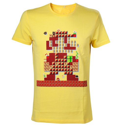 NINTENDO Super Mario Bros. Giant Mario 30th Anniversary Men's T-Shirt, Medium, Yellow
