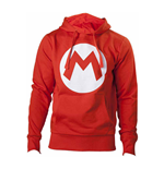 NINTENDO Super Mario Bros. Big Mario Logo Unisex Hoodie, Large, Red