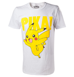 POKEMON Pikachu Pika! Raised Print Men's T-Shirt, Extra Large, White
