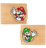 NINTENDO Super Mario Bros. Mario & Luigi with Pop-lock Clip Unisex Bi-Fold Wallet, One Size, Sandy/Woodgrain
