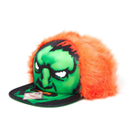 CAPCOM Street Fighter Blanka Character Face with Orange Hair Unisex Snapback Baseball Cap, One Size, Black/Green/Orange