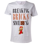 NINTENDO Super Mario Bros. Breaking Bricks Since '85 with Jumping Mario Men's T-Shirt, Small, White