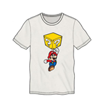 NINTENDO Super Mario Bros. Mario Breaking Block Men's T-Shirt, Medium, White