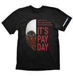 PAYDAY 2 Men's Wolf Mask Large T-Shirt, Black