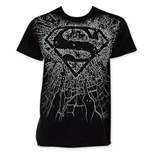 SUPERMAN Men's Black Shattered Logo Tee Shirt