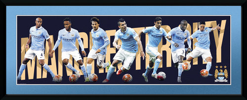 Manchester City Players 15/16 Framed Collector Print