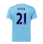 2015-16 Man City Home Shirt (Silva 21)