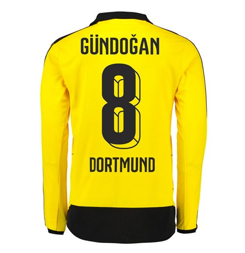 2015-16 Dortmund Home Long Sleeve Shirt (Gundogan 8)