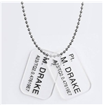 Aliens Dog Tags with ball chain Colonial Marines M. Drake