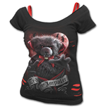 Ted The Impaler - Teddy Bear - 2in1 Red Ripped Top Black