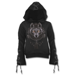 Wolf Dreams - Black Ribbon Gothic Hoody Black