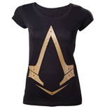 ASSASSIN'S CREED Gold Metallic Brotherhood Logo Women's T-Shirt, Extra Large, Black