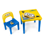 MINIONS My First Activity Table/Chair Set with 30 Piece Creative Activity Set