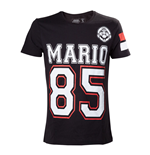 NINTENDO Super Mario Bros. Adult Male Mario 85 Streetwear American Football Jersey T-Shirt, Medium, Black