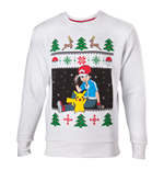 POKEMON Men's Ash & Pikachu Christmas Jumper, Small, White