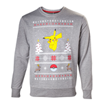 POKEMON Men's Dancing Pikachu Christmas Jumper, Medium, Grey