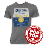 CORONA EXTRA Men's Grey Bottle Label Pop Top Tee Shirt