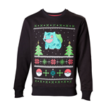 POKEMON Men's Bulbasaur in the Snow Christmas Jumper, Medium, Charcoal/Black