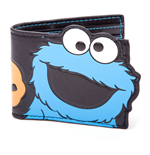 SESAME STREET Cookie Monster Big Cutout Bi-fold Wallet, One Size, Black/Blue