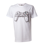SONY Playstation Adult Male Artistic Sketch Controller T-Shirt, Large, White