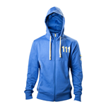 FALLOUT 4 Men's Vault 111 Billed Full Length Zipper Hoodie, Small, Blue