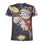 NINTENDO Super Mario Bros. Adult Male Donkey Kong All-Over Sublimation T-Shirt, Medium, Multi-Colour