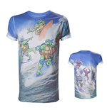 TEENAGE MUTANT NINJA TURTLES (TMNT) Adult Male Surfing Turtles All-Over Sublimation T-Shirt, Extra Large, Multi-Colour