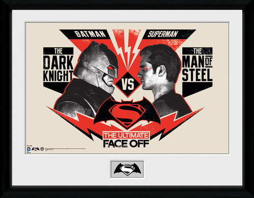 Batman Vs Superman Face Off Framed Collector Print