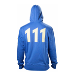 FALLOUT 4 Adult Male Vault 111 Billed Full Length Zipper Hoodie, Medium, Blue