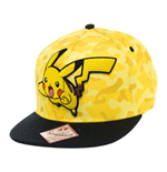 POKEMON Unisex Pikachu Camouflage Snapback Baseball Cap, One Size, Yellow/Black