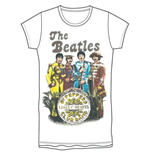 The Beatles Women's Tee: Sgt Pepper Band & Drum