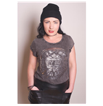 The Beatles Women's Acid Wash Tee: Sgt Pepper Drum