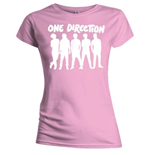 One Direction Women's Skinny Fit Tee: Silhouette White on Pink