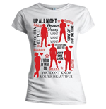 One Direction Women's Skinny Fit Tee: Silhouette Lyrics Red on White