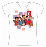 One Direction Women's Skinny Fit Tee: 1D Squares Group