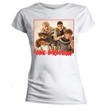 One Direction Women's Skinny Fit Tee: Band Red Border