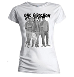 One Direction Women's Skinny Fit Tee: Group Standing Black & White