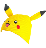 POKEMON Unisex Pikachu Face & Ears Cuffless Beanie, One Size, Yellow