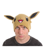 POKEMON Unisex Eevee Face & Ears Cuffless Beanie, One Size, Brown