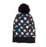 POKEMON Unisex Character Pokemon All-Over Pattern with Pom-Pom Cuff Beanie, One Size, Black