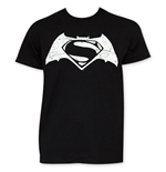 Batman v SUPERMAN Black And White Movie Logo Tee Shirt