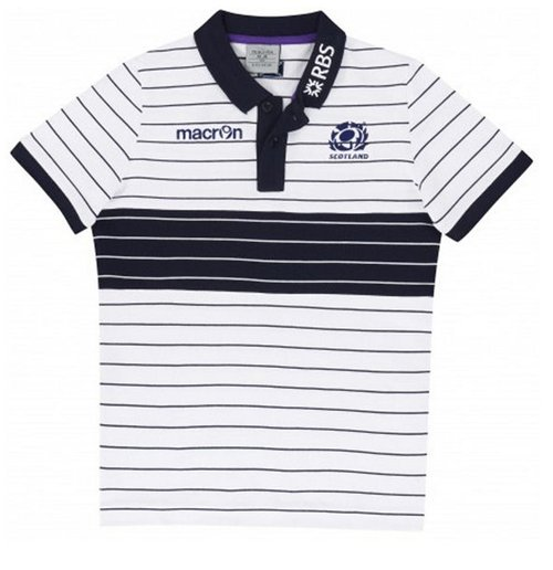 2014-2015 Scotland Cotton Striped Piquet Polo Shirt (White) - Kids