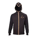 ASSASSIN'S CREED Syndicate Adult Male Bronze Brotherhood Crest Full Length Zipper Hoodie, Medium, Black/Bronze