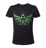 NINTENDO Legend of Zelda Adult Male Distress Green Royal Crest T-Shirt, Extra Large, Black