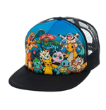 POKEMON Unisex Character Group Trucker Snapback Baseball Cap, One Size, Black