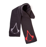 ASSASSIN'S CREED Unisex Red/Grey Brotherhood Crest Logos Scarf, One Size, Black